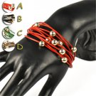 Jewelry beads leather mulit lay friendship bracelets magnet 4 colors BR-1392