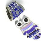 Blue Enamel owl charms DIY jewelry scarf accessory bails tube pendant 711B+761F