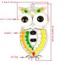 "3 pcs/lot Silver plated enamel owl pendant DIY scarf 4.13*2.05"" big owl PT-713"