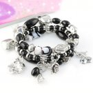 Elasticated beads charms bracelets fashion jewelry woman heart flower BR-848