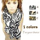 zebra-stripe animal pattern winter scarf Linter fabrics fuzz soft scarves NL1770