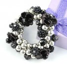 1 pcs Black flower beads bracelets elastic size fashion CCB beads BR-1010B