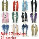 Mix 12 styles 24 pcs/lot jewelry scarf wholesale fashion pendant scarf mix color
