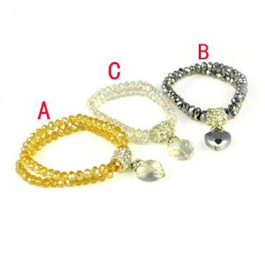 1 pcs Heart pendant crystal charms bracelets stretchable size 3 colors BR-1368