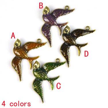 4 pcs enamel swallow pendant birds DIY jewelry findings scarf accessory PT-642