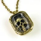 vintage Skull in the window pendant necklace cool glass chain necklace NL-1900
