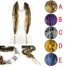 Snake Pattern jewelry scarf beads fashion woman necklace 5 colors LOT NL-1923