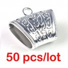 50 pcs/lot CCB silver scarf bails DIY scarf rings accessories tube slide PT666A