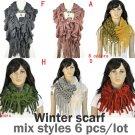Mix styles 6 pcs/lot winter warm knitting woman hood scarf loop fashion jewelry