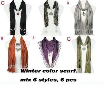 Mix styles 6 pcs winter color jewelry scarf fashion woman shawl pendant scarf