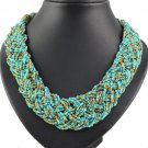 Green seed beaded necklaces handmade weaving art fashion necklace lady NL-1218