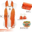 orange tone fashion woman accessories jewelry scarf bangle earring shoulder bag