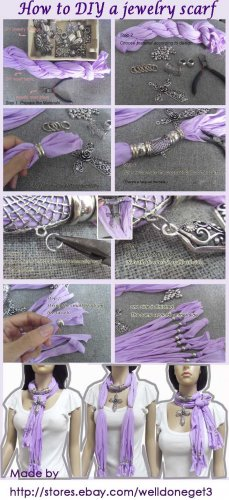 Gradient gray stripe flower charms spring endless fashion scarf hood NL-2004D