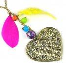 Phoenix colored design heart pendant chain necklace fashion lady jewelry NL1915
