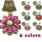 Vintage style flower stone charms DIY jewelry findings scarf accessory LOT PT748