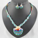 enamel seashell pendant necklaces earrings jewelry set beach woman jewel NL1012