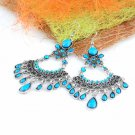 1 pair Bohemian Vintage style dangle earrings hook blue resin stones ER-447B