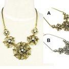 Metal Flower vintage style Necklace fashion woman necklace 2 colors NL-1827