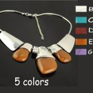 alloy necklaces with big stones choker 4 colors vintage style necklace NL-799