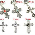 Mix 6 pcs cross charms metal pendant DIY jewelry findings scarf accessories
