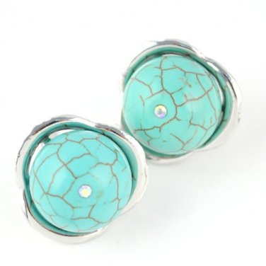 flower style earrings earrings turquoise ear stud fashion woman jewelry ER-508