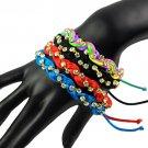 Handmade weaving with rhinestone bracelets Adjustable size friendship BR-1288