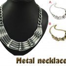 Vintage style casting pendant necklace metal choker collar bib 2 colors NL-1726