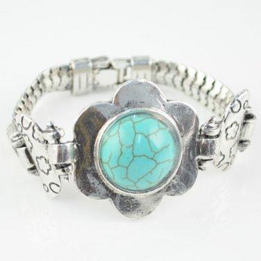 Metal flower bangles turquoise fashion jewelry woman watch-like bracelets BR1082