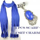 DIY fashion Blue cotton scarf add jewelry resin stone charms PT-387O PT-631A
