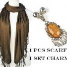 DIY Brown dream yarn scarf add jewelry resin stone charms NL-1781N PT-631G