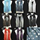 Metal Rivets scarf 174*40 cm winter shawl tassels scarves 8 colors NL-1481