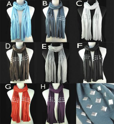 Metal Rivets scarf 174*40 cm winter shawl tassels scarves 8 colors NL-1481