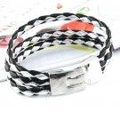 Handmade double color leather weave multilayer bracelet bangle 1 pcs BR-377