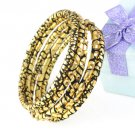 Imitation leather bangles golden and silver color mulitlayer fashion BR-1187