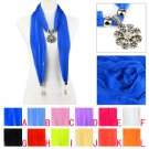 Spring thin yarn jewelry scarf 12 colors with flower charms pendant lot NL-2022