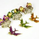 antique brass swallow charms for DIY jewelry scarf enamel alloy jewelry findings