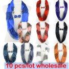 10 pcs/lot love heart charms scarf hood leopard print stripe circle scarf NL2021