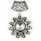 Sunflower alloy pendant DIY scarf charms with tube bails big stone jewelry set