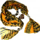 Tiger printing jewelry scarf with glass heart shaped jewelry pendant NL-2104