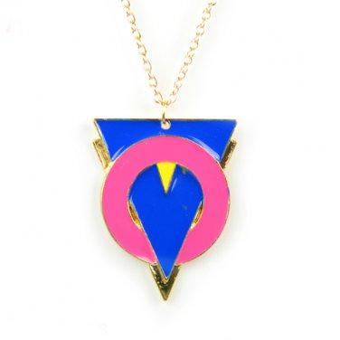 alloy triangle colorful enamel pendant necklaces fashion woman necklace NL-2061