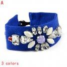 handmade Neon color punk stones ribbon bracelet 2014 fashion,BR-1423