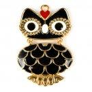 3 pcs enamel owl jewelry scarves pendant rhinestone DIY necklace charms PT791