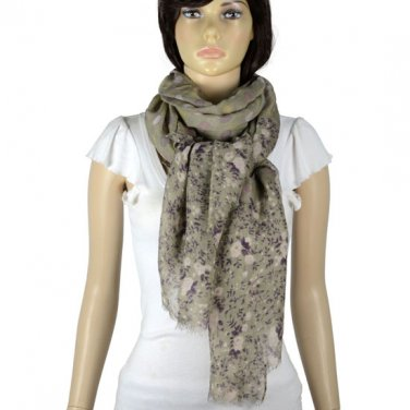plain elegant woman shawl dot floral print soft touch scarf NL-2094