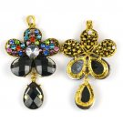 flower drop charms rhinestones DIY jewelry findings scarf necklace pendant PT788