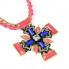 Neon funky color stoned cross pendant necklace for women,NL-2110
