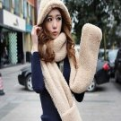warm hooded scarf glove hat set 5 colors with pocket women winter scarves