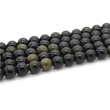 full strand genuine obsidian gemstone round ball gold jewelry beads GB051 gem