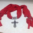 Red Fashion Pendant Scarf Necklace Shawl Jewelry Charm Beads Cross