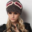 fashion womens hats winter hat pilot cap crochet knit glasses beanie LT-06