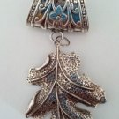 1 set Metal silver leaf charms DIY fashion jewelry scarf accessory bails pendant